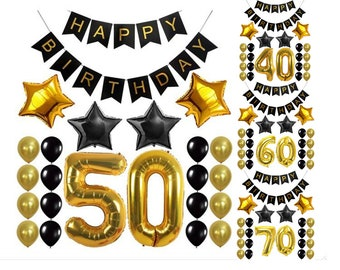 50Th 60TH 70TH Birthday Party Decoration Set Black Gold Theme