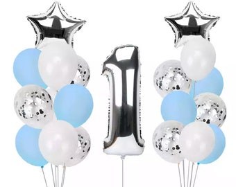 Giant Silver NUMBER 1 Foil Balloons Bouquet Party