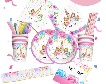 UNICORN Birthday Party Decoration Set Unicorn Supplies Girls Banner Table Cloth Plates Cups Napkins