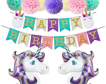 UNICORN PARTY Purple Pink Mint Green Balloons Party Decoration Set Unicorn Theme