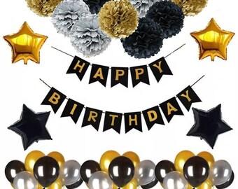 BLACK And GOLD Birthday Party Decorations Balloon Kit Set DIY Mens