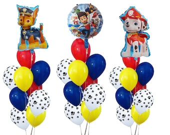 PAW PATROL Balloons Paw Patrol Birthday Party Balloon Chase Marshall Rubble Supplies