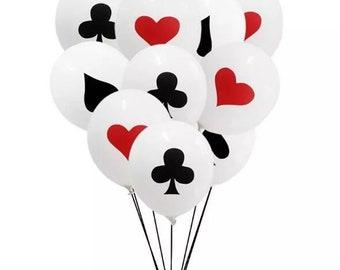 POKER BALLOONS Casino Party Vegas Decoration Poker Card Spades Hearts Clubs Diamonds Latex Balloon Birthday
