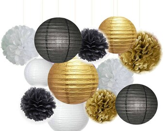 Black Gold White Party Tissue Poms Lantern Set DIY Mens