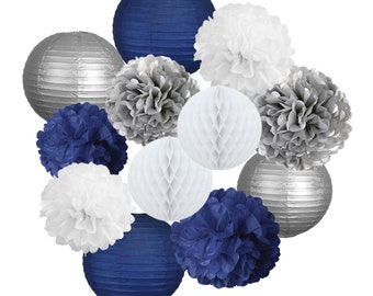 Navy Blue White And Silver Party Decoration Lantern Tissue Pom Kit