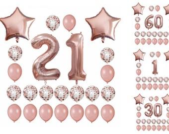 21ST BIRTHDAY Balloons Rose Gold Set