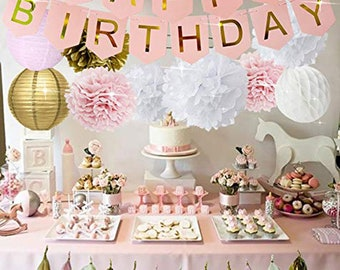 PINK GOLD BIRTHDAY Decorations
