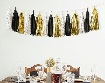 Black Gold White Tissue Paper Tassel Garland