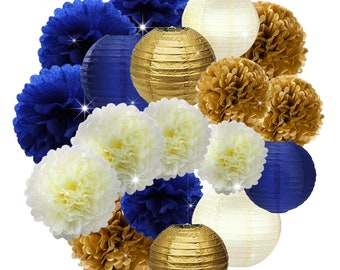 e7324e59a Navy Royal Blue, Gold, Cream Party Poms & Lantern Set-Boy Birthday Party  Set| Boy Baby Shower |Father Birhtday|Nautical Party Decor |Graduat