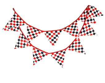 Bunting Banner Boy's Nursery Red Black Checker Flags Bunting, Photography Prop Cotton Fabric Banners  Boys Baby Shower Garland