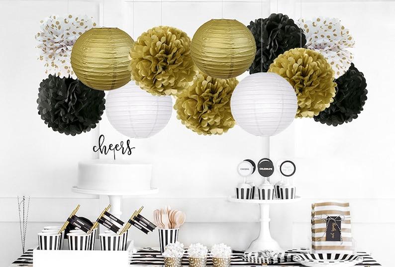 7e5c4baf34b9 BLACK GOLD White Party Flower Poms   Lantern Set-DIY Mens Party Set