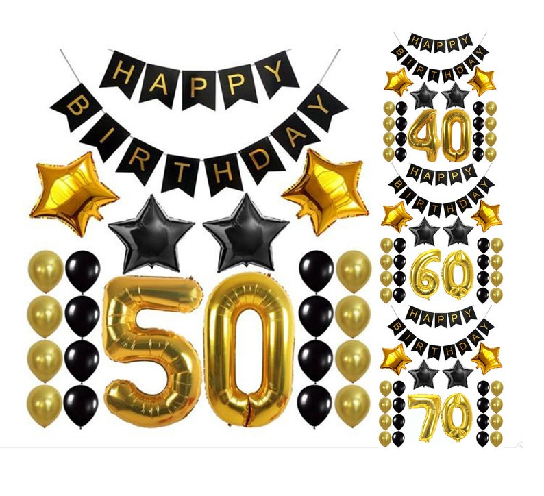 50Th 60TH 70TH Birthday Party Decoration Set Black Gold