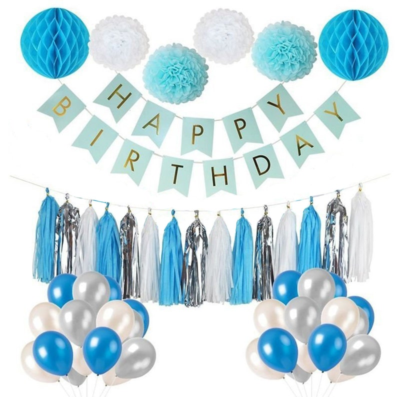BLUE SILVER Party Decoration Set Boys 1st Birthday