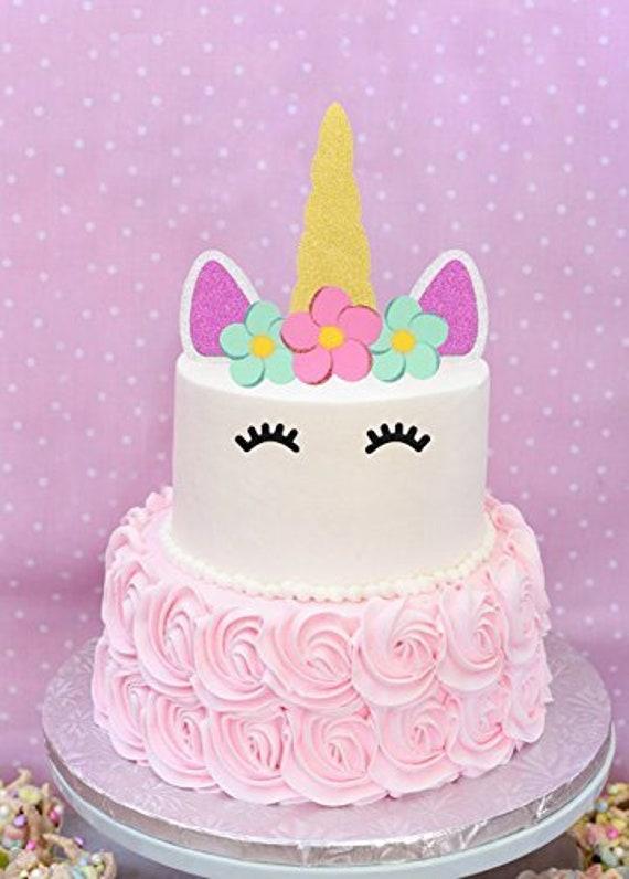 Unicorn Cake Topper Happy Birthday Cake Decoration Gold Sliver