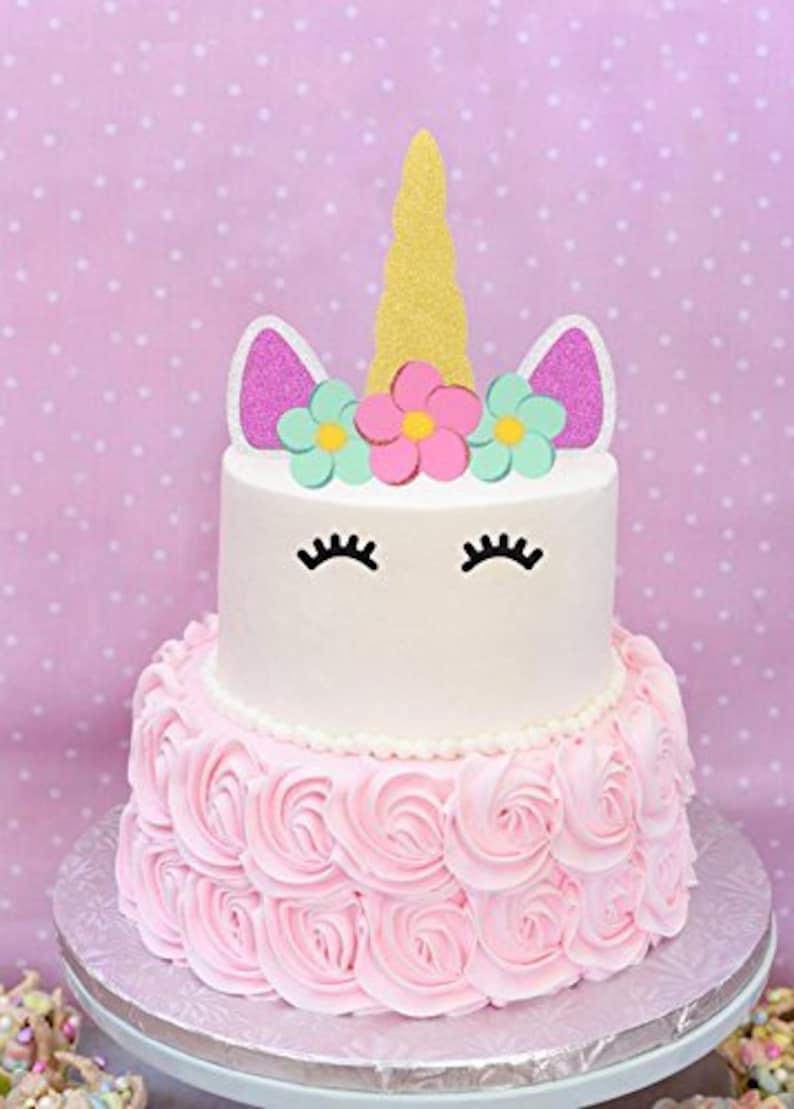 Unicorn Cake Topper Happy Birthday Decoration Gold Sliver