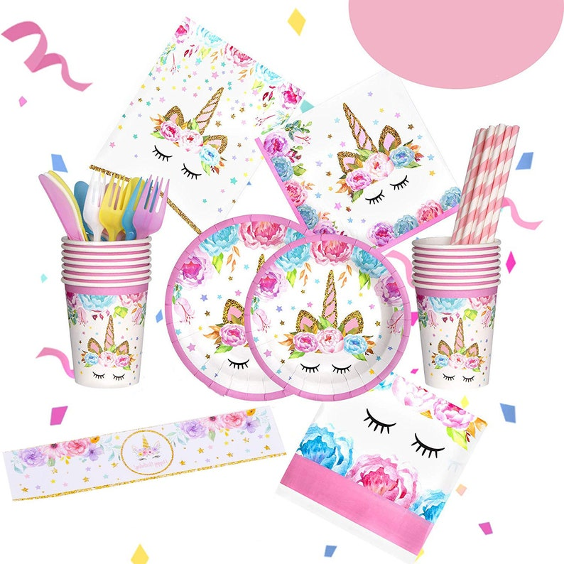 UNICORN Birthday Party Decoration Set, Unicorn Party Supplies Set, Girls  Birthday Party, Banner, Table Cloth – Party Plates, Cups & Napkins