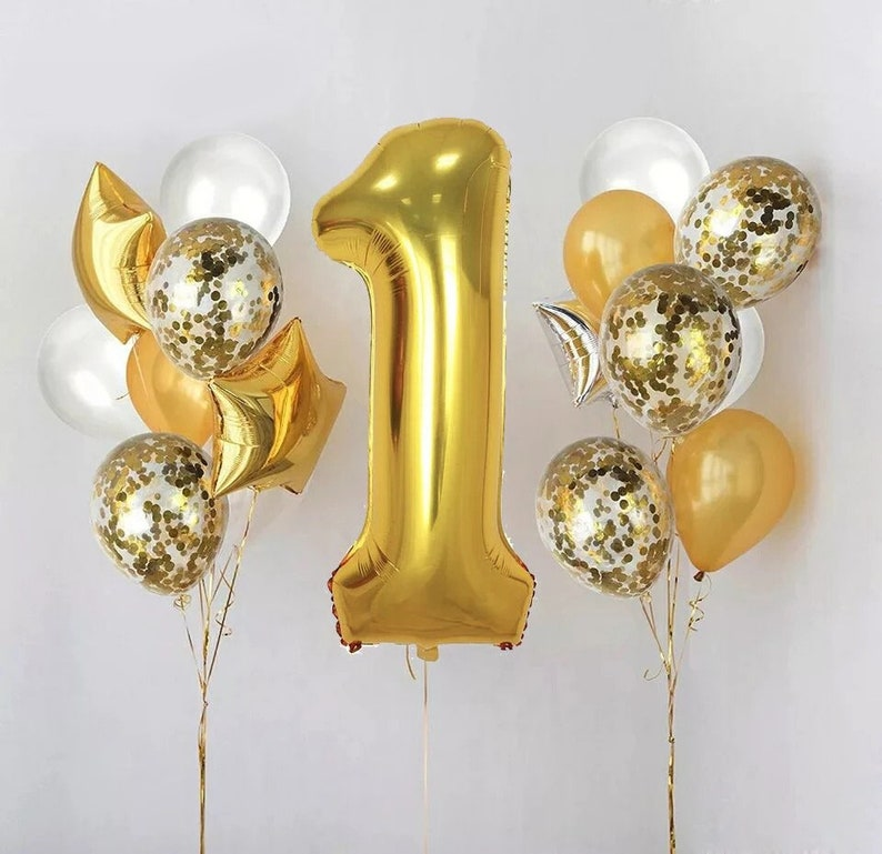 1ST BIRTHDAY PARTY Balloons First Birthday Balloon Gold