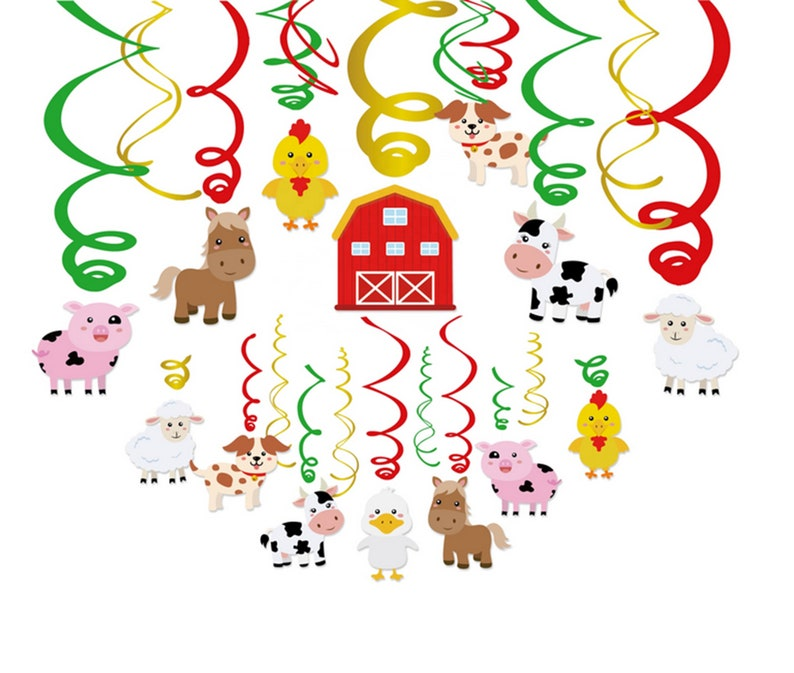 Animal Party Supplies Farm Animal Party Decoration-Tableware Set Serves 8 Guests Animal Balloons Animal Party Banner