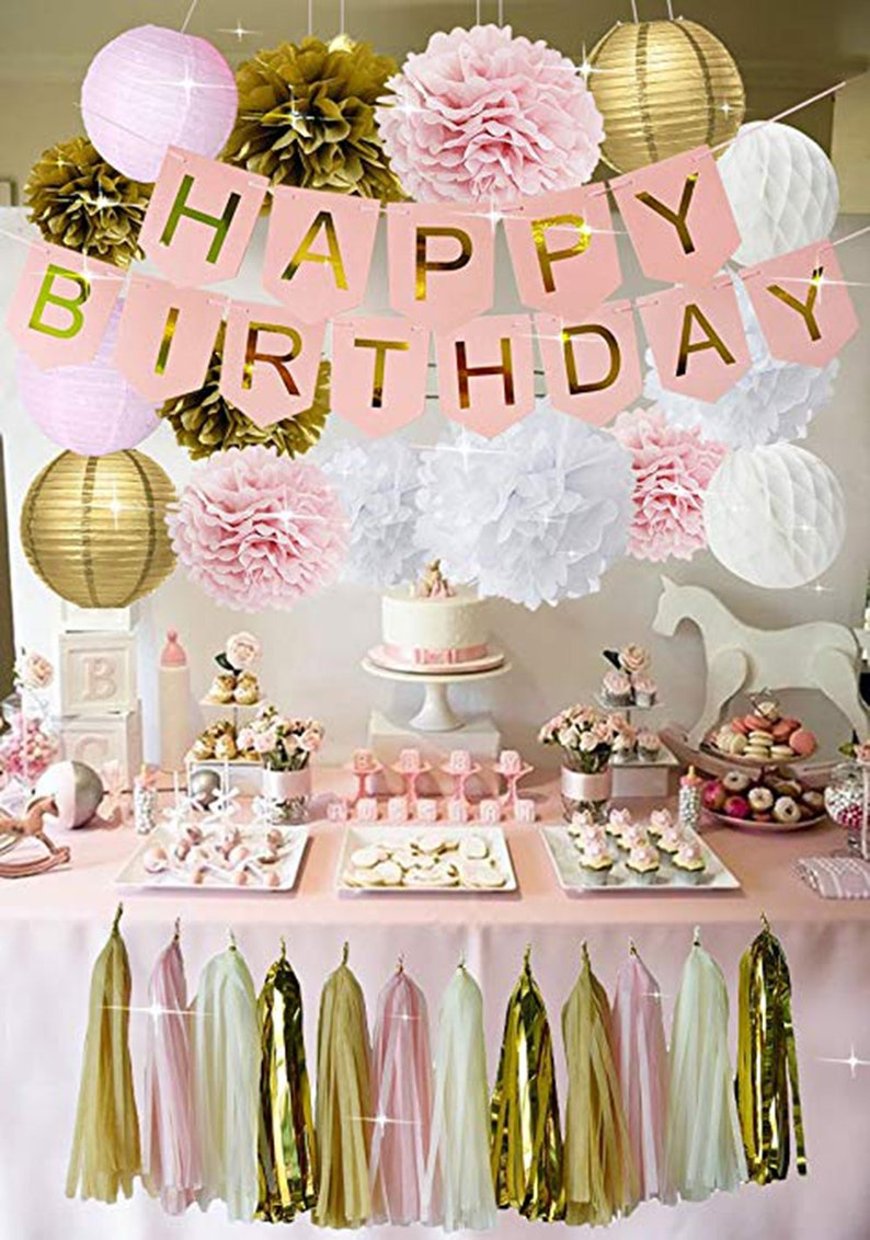PINK GOLD BIRTHDAY Decorations Pink Birthday Banner