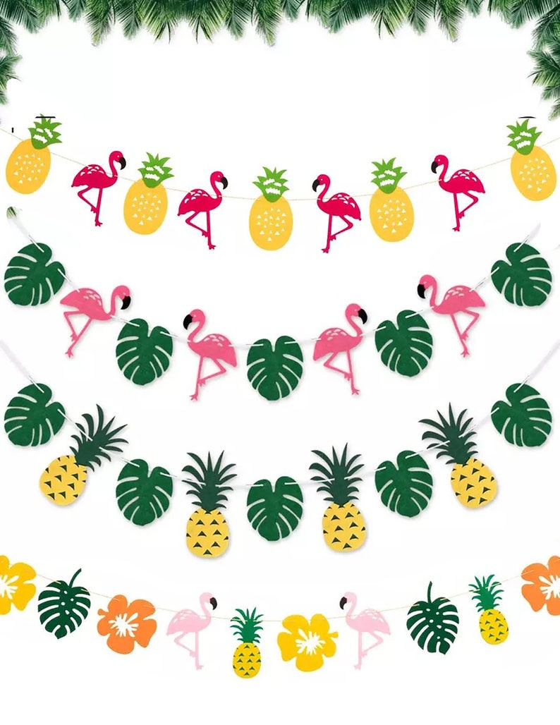 PINK FLAMINGO PARTY Banner-Flamingo Garland Tropical Party image 0
