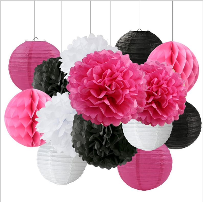14 Piece Hot Pink Black White Party Pom Poms Set Sassy Girls Etsy