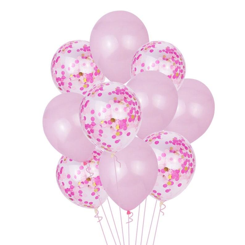 Wedding Balloons PINK CONFETTI BALLOONS-Rose Gold Pink Confetti Balloons Bouquet Girls Baby Shower Balloons Girls Birthday Party Balloons