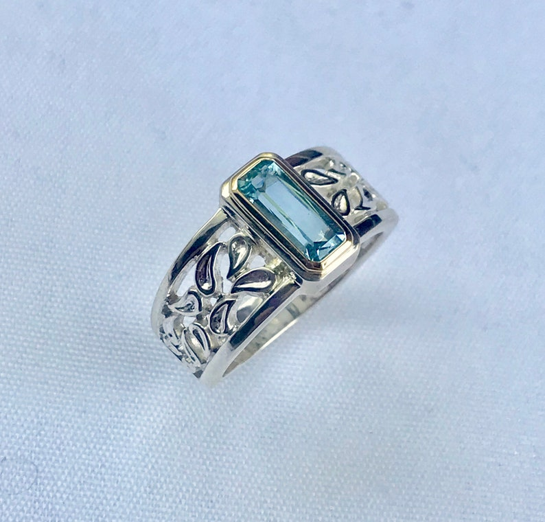 Rectangle aquamarine statement ring  sterling silver /& 14k gold  Ladies aquamarine silver ring  March birthstone ring  Gift for women