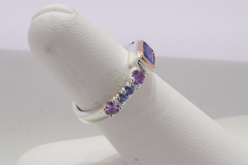 Tanzanite and sapphire sterling silver and 14k rose gold ring  Rectangle tanzanite ring  Tanzanite stack ring  Handmade fine jewelry ring