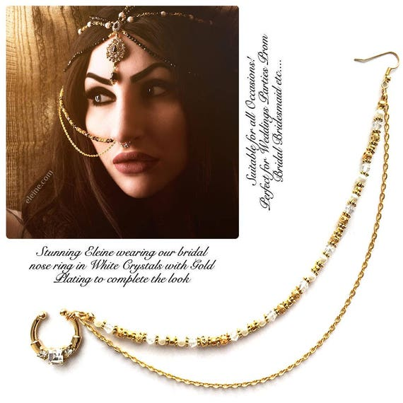 e48a9f4b068 indian nose ring , nose ring chain , nath , bridal nose ring , Bollywood  nose jewelry , septum gold tone chain , wedding nose jewels