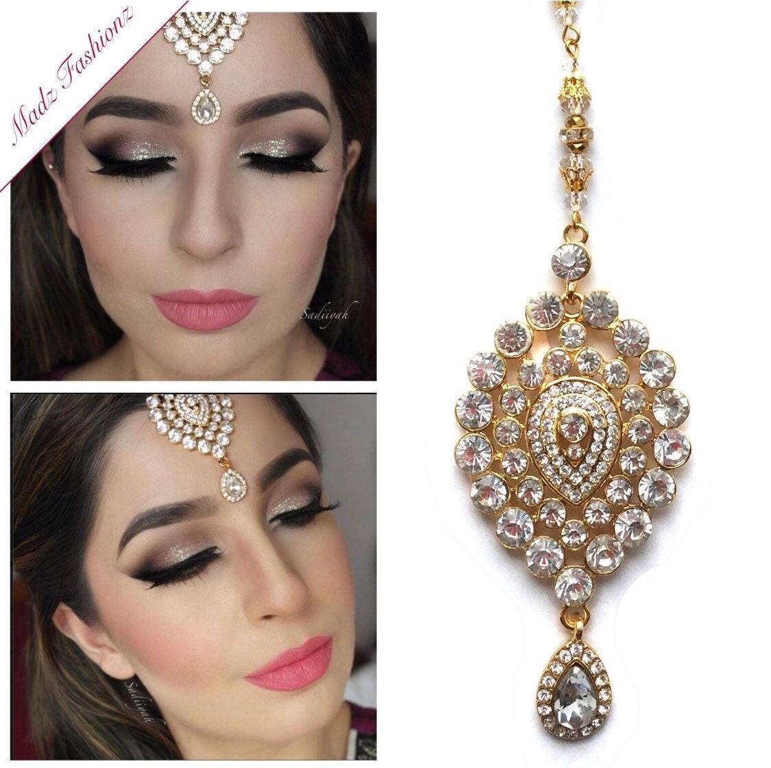 bridal hair tikka , indian hair bindi , maang patti , prom headwear , gold  hair jewelry , jhoomer , hair accessories , head gear , tikkli