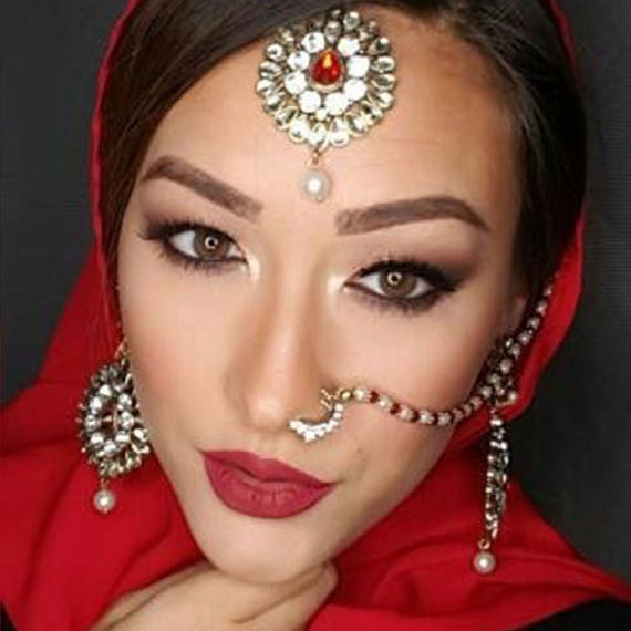 Bridal Nose Ring Gold Nose Chain Indian Naath Nathni Etsy