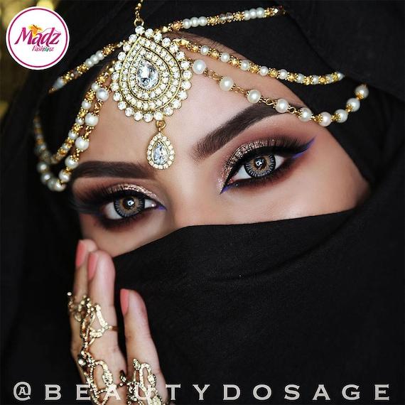 Gold Head Wear Indian Hair Jewelry Pearl Headpiece Etsy
