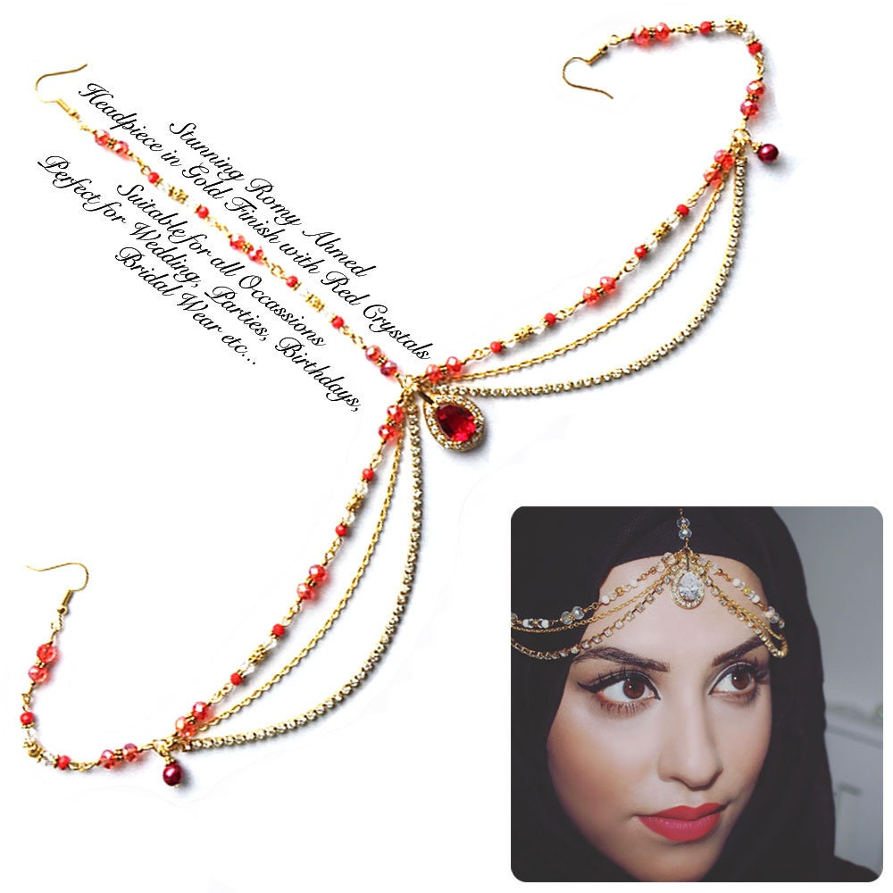 Red And Gold Headpiece Indian Matha Patti Wedding Forehead Etsy Hijab Zoom
