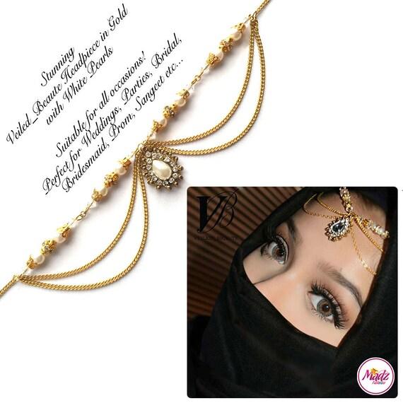 Nuevo Matha Patti Hijab Joyería Cadena Pieza Tikka indio de cabeza de oro perla