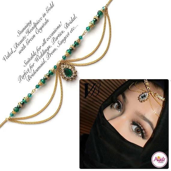 Green Head Wear Indian Hair Jewelry Gold Headpiece Etsy