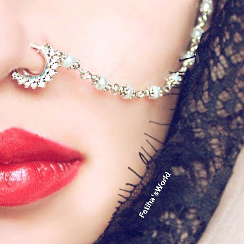 af7c4a302d0 indian nose ring , nose ring chain , nath , bridal nose ring , Fatiha world  nose jewelry , septum gold tone chain , wedding nose jewels