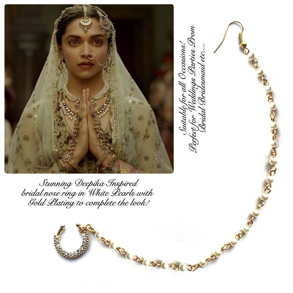 Indian Nose Ring Wedding Nose Ring Chain Nath Bridal Nose Ring Inspired By Deepika Padukone Nose Jewelry Septum Gold Tone Chain