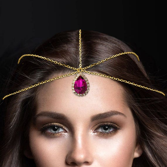 Fuschia Pink Hair Jewelry Gold Forehead Jewelry Crystal Etsy