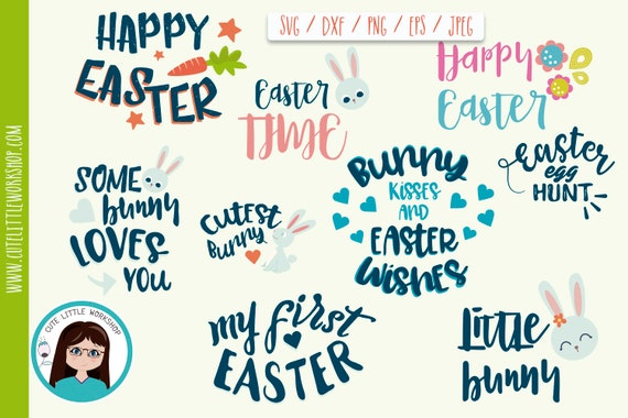 Easter Svg Bundle Easter Eggs Bunnies Quotes Flowers Etsy