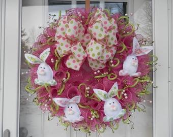 Easter Wreath, Spring Wreath, Easter, Spring, Wreath, Deco Mesh Wreath, Deco Mesh, Door Decoration, Bunnies, Rabbit, Ready to Ship, Handmade