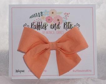 Creamsicle Peach Fabric Bow
