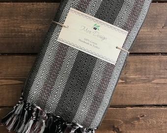Istanbul Turkish Towel - Brown with beige and black diamond stripe