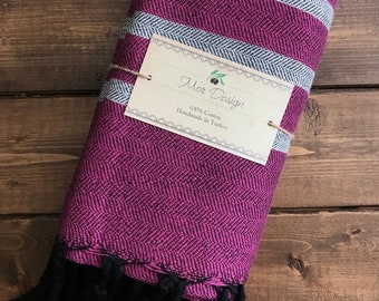 Ottoman Turkish Towel (Pink Black Stripe)