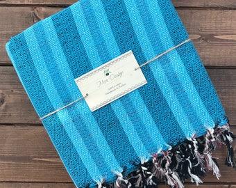 Istanbul Turkish Towel - Bright Blue Diamond Stripe