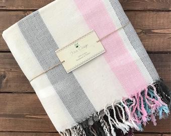 Turkish Delight Towel - White Stripe