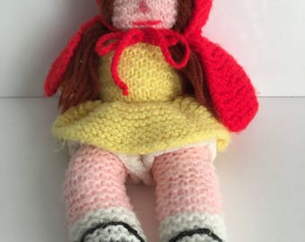 Vintage Hand Knit Crochet Little Red Riding Hood Doll 1980's Toy