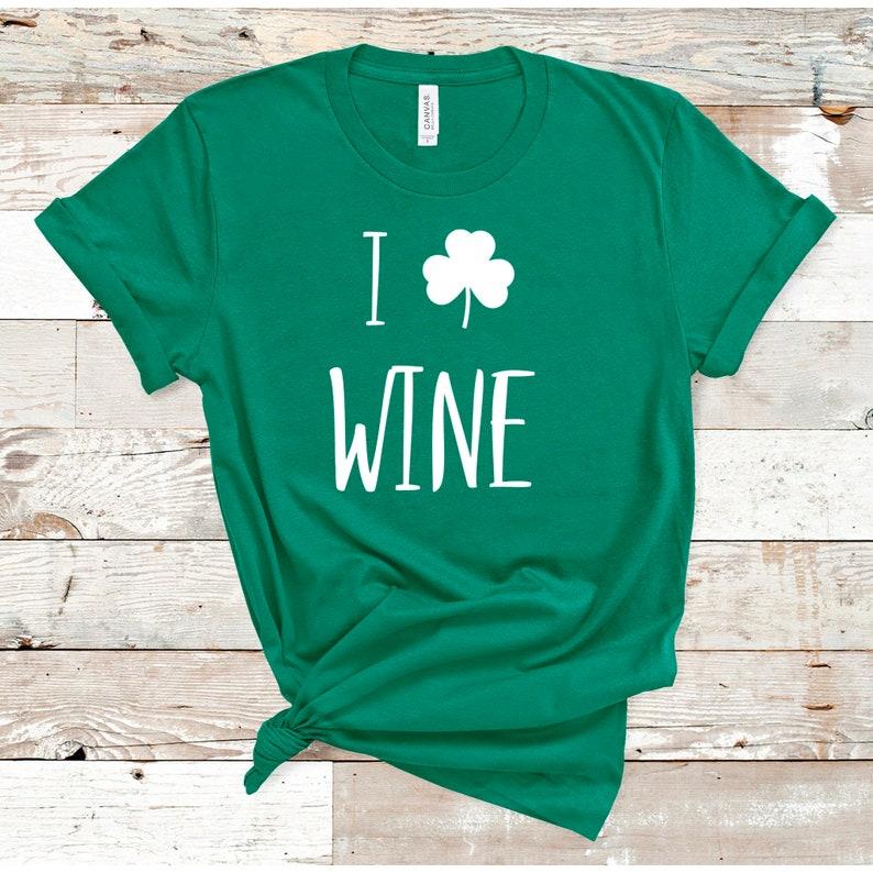 c65c59225 St Patricks Day Wine Shirt Womens St Paddys Day Shamrock | Etsy