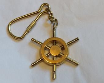 Vintage 1980's Brass Nautical Ship Wheel