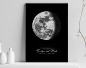 Custom Digital Moon Phase Printable Map, Night Sky Print, Moon Poster, Printable Gift, Printable Download