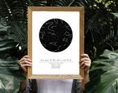 Custom Digital Star Printable Map, Night Sky Print, Star Poster, Constellation Print, Printable Gift, Printable Download